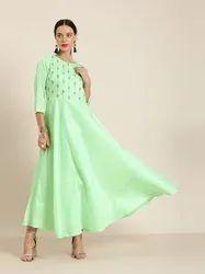 Jaipur Kurti Aqua Crepe Embroidered Flared Dress