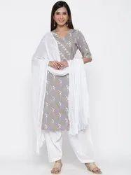 Jaipur Kurti Women Grey Ethnic Motif Straight Cotton Blend Kurta With Patyala Dupatta