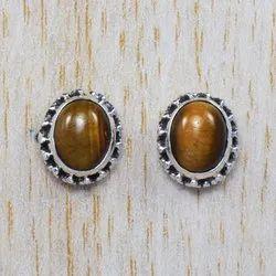Tiger Eye Gemstone Unique Jewelry 925 Sterling Silver Fancy Stud Earring WS-4663