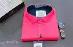 Collar Neck Casual Wear Dark Pink Plain Shirt, Machine wash