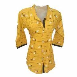 Cotton Printed Kurti Style Collar Shirt, Size: Medium, Casual