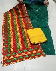 Embroidered Cotton Phulkari Stolls with contrast Chikhakari Kurti Mastani set, Dry clean, Size: Free Size