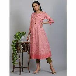 Janasya Women''s Pink Cotton Kurta (JNE3563)