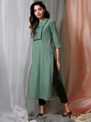 Janasya Women's Green Cotton Kurta With Pant(J0135)