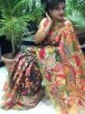 Linen Saree With Colour Full Print