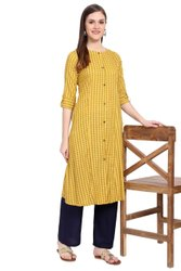 Women Printed Straight Rayon Kurta (Yellow)