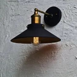 Conical Midnight Gold Wall Lamp