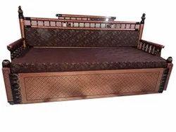 Modern Brown Wooden Sofa Cum Bed(Sankheda), For Home, Size: 6*5 Feet