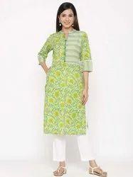 Jaipur Kurti Women Green Floral Straight Cotton Kurta