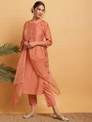 Janasya Women's Peach Poly Muslin Kurta With Pant and Dupatta(J0280)