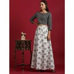 Janasya Women's Black Cotton Flex Crop Top With Skirt(J0199)
