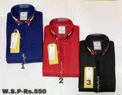 Cotton Collar Neck Mens Fancy Plain Shirts, Size: M - XXL