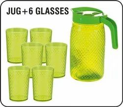 Plastic Jug With Glass Set