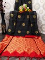 Present Banarasi Silk Saree With Attractive Tassels And Moti Work