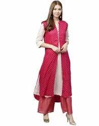 Jaipur Kurti Women Pink Ethnic Motifs Straight Rayon Shrug