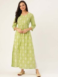 Jaipur Kurti Women Green & White Ethnic Motif Straight Cotton Kurta With Pants