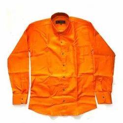 SDG Cotton Men Orange Plain Shirt
