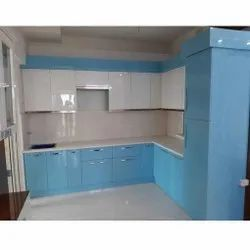 L Shaped Laminated Shutter Kitchen