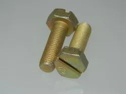 MS, Bass And HT Steel Full Thread Hex Head Slot Bolt, Size: Upto M10