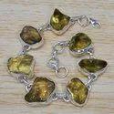 Sterling Silver Fashion Jewelry Rough Citrine Gemstone Bracelet SJWBR-247