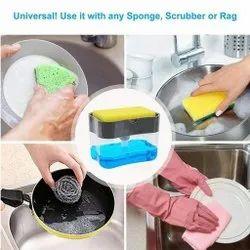 Liquid Dispenser Kitchen Plastic Liquid Soap Press Dispenser With Sponge Holder For Kitchen