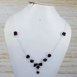 New Fashion 925 Sterling Rough Garnet Gemstone Jewelry Nice Necklace