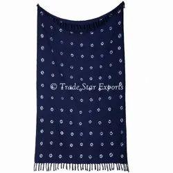 Decorative Luxaury Hand Loomed Cotton Shibori Bedding Throw Blanket