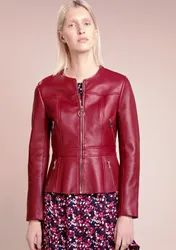 New Women Pure Leather Jacket Biker Motorcycle Racer Cafe Party