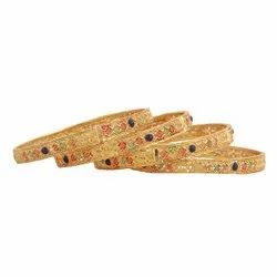 Brass Party Wear Ladies Designer Gold Plated Bangles