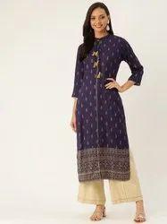 Jaipur Kurti Women Blue Gold Print Straight Viscose Rayon Kurta