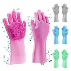 Dishwashing Silicone Gloves Perfect For Washing Dish Car Bathroom Reusable Brush Heat Resistant