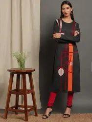 Janasya Women's Grey Woolen Kurta (J0315)