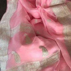Handwoven Pure Khadi Chiffon Georgette Handloom Banarsi Saree Original Silver Zari Work