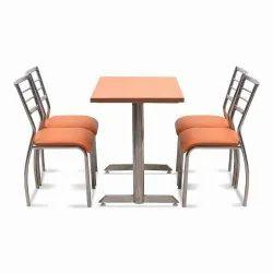 1 Wooden DZYN Furnitures Metal 4 Seater Dining Set (Finish Color -Orange), For Restaurant