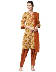 Jaipur Kurti Women Beige Ethnic Motifs Embroidered Cotton Kurta With Patiala and Dupatta