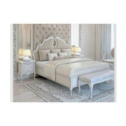 Antique White Teak Wood Bed, For Bedroom