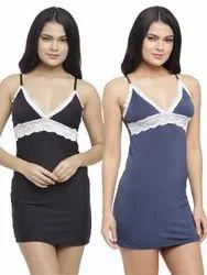Sleeveless Ladies Night Wear Cotton Spandex Lace Nightwear Lounge Slip Short Nighty