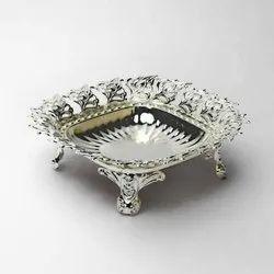 Peacock Design Rimmed Square Silver Bowl (Small)
