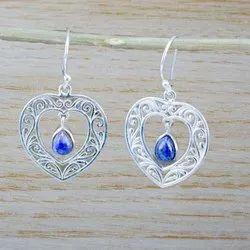 925 Sterling Silver Fancy Jewelry Lapis Lazuli Gemstone New Earring