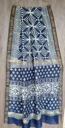 Marwal Party Wear Traditional Hand Printed Saree, Saree Length: 5.5 M (Separate Blouse Piece)