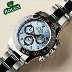 Luxury( Premium) Analog Rolex Daytona Ice Blue Dial Silver Chain Men's Watch, For Formal