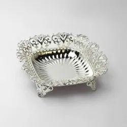 Designer Pedestal Square Silver Bowl (Medium)