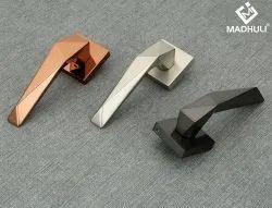 Zinc Zamak Alloy Door Handle On Square Rosette With Iron Lining-51
