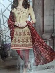 Stitched Churidar Cotton Printed Suit, Handwash