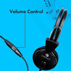 Black Over The Head Zebronics Zeb-Pleasant Wired Headphone, Weight: 114 G