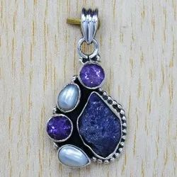 925 Sterling Silver Jewelry Pearl and Multi Gemstone Wholesale Pendant SJWP-117