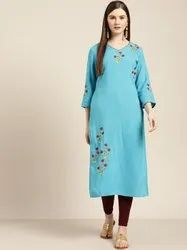 Jaipur Kurti Blue Placement Embroidered Straight Kurta