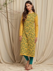 Janasya Women's Yellow Woolen Kurta(J0319)