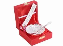 Anand Crafts Silver Plated Bowl And Spoon Set