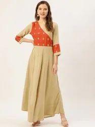 Casual Wear Viscose Rayon Jaipur Kurti Beige Embroidered Flared Dress